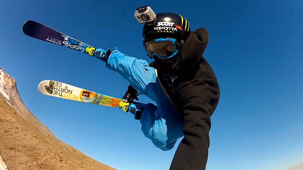 foto gopro skiando tierra